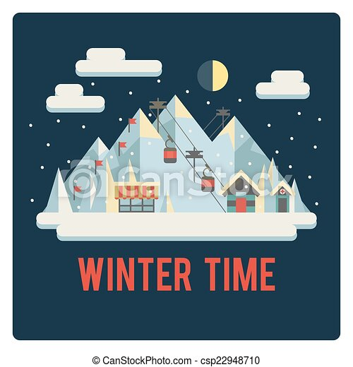 horaire hiver, recours, nuit, ski, montagnes - csp22948710