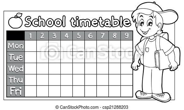 Horario, 9, escuela, libro colorear. Escuela, colorido, eps10 ...