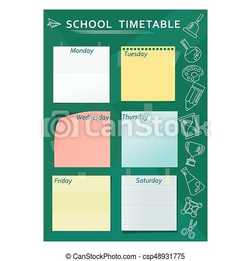 Horario escolar verde - csp48931775