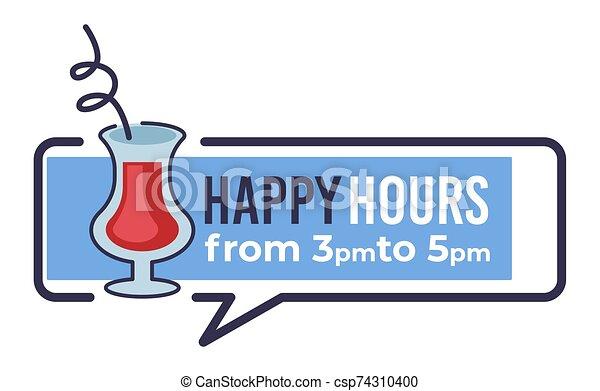 horas, p.m., feliz, 5, bandera, restaurante, 3 - csp74310400