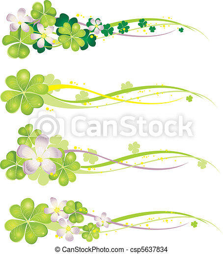Horisontal Spring Banner with blooming clovers - csp5637834