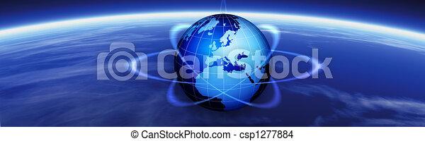 Horizon and world globe banner - csp1277884