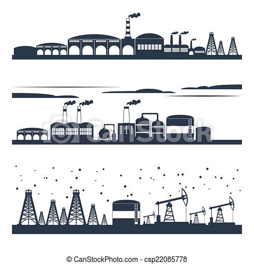 horizon ville, industriel, bannières - csp22085778