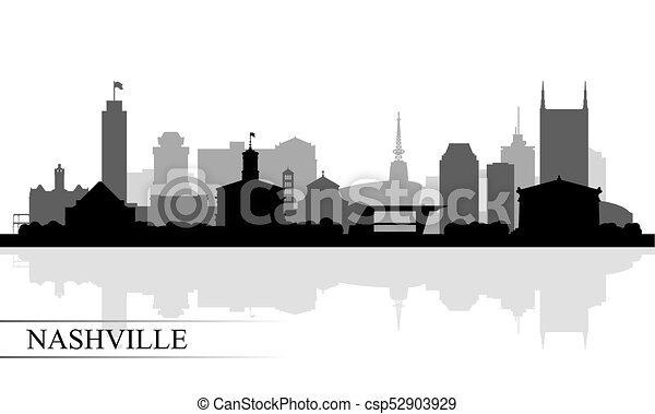 horizon ville, nashville, silhouette, fond - csp52903929