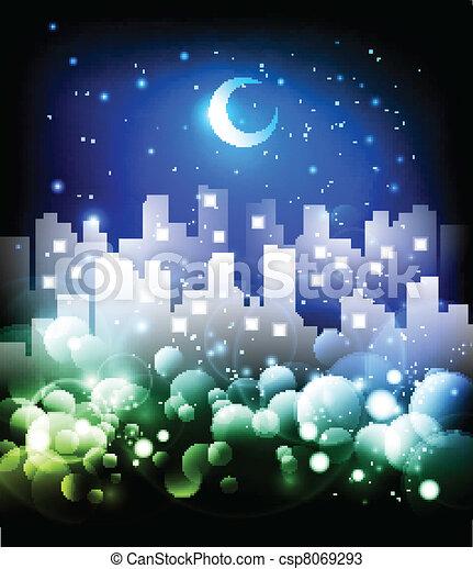 horizon ville, résumé, fond, nuit - csp8069293