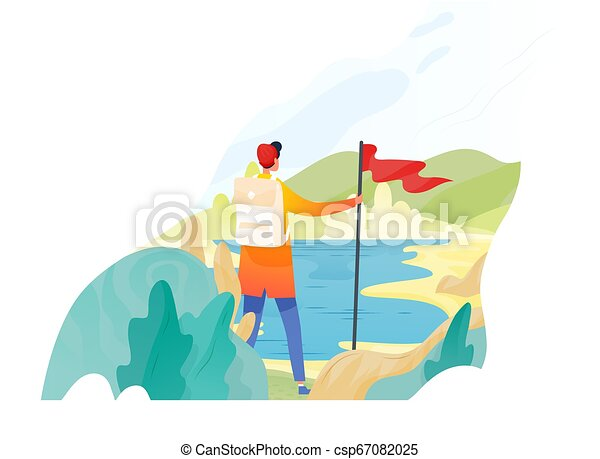 Backpacker, excursionista, viajero o explorador parado, sosteniendo bandera roja y mirando a la naturaleza. De excursión, de mochileros, turismo de aventuras y viajes, descubrimiento de nuevos horizontes. Ilustración vectorial plana. - csp67082025