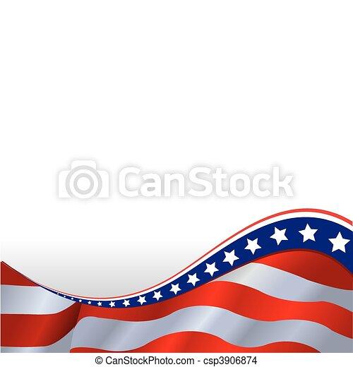 horizontális, lobogó, amerikai, háttér - csp3906874