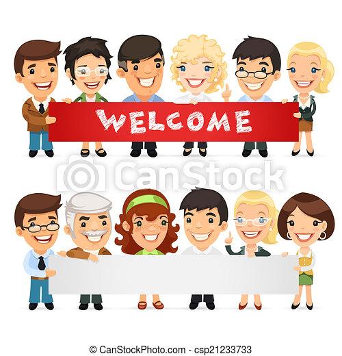 horizontaal, spandoek, leraren, lege, het voorstellen - csp21233733