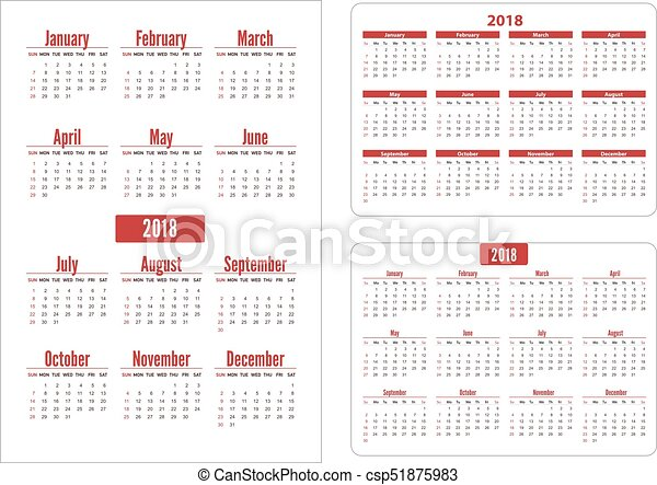 Horizontal And Vertical Pocket Calendar On 2018 Year Vector