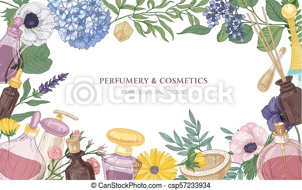 Horizontal backdrop with frame or border consisted of fragrant perfume  ingredients in glass decorative bottles, beautiful flowering plants and  place