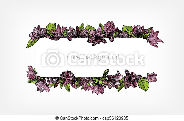 Horizontal Background Border Or Frame Decorated With Beautiful Pink