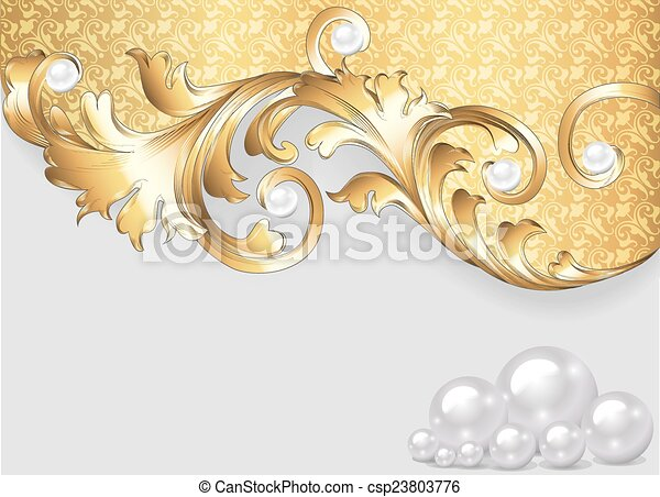 horizontal background with gold ornaments and pearls - csp23803776