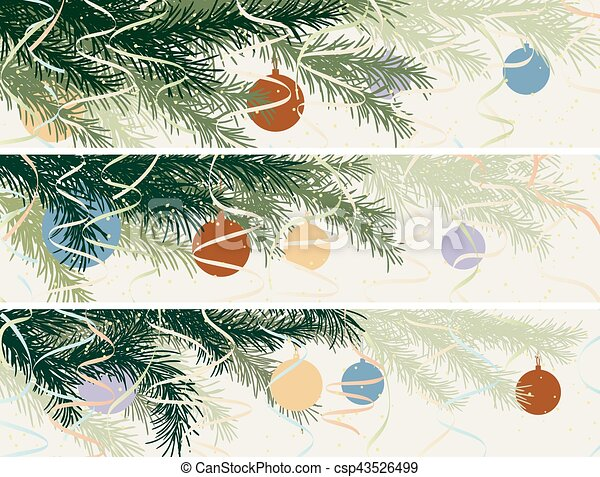 horizontal banner of christmas spruce branch csp43526499 - Pastel Green Christmas Decorations