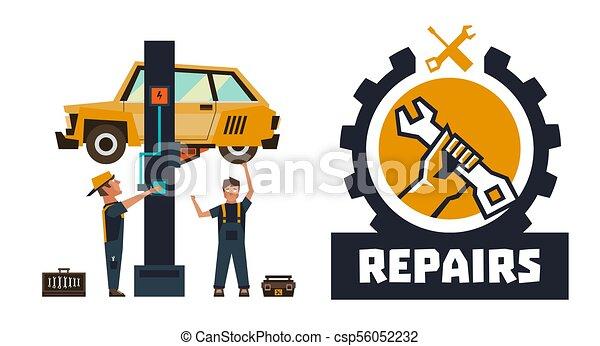 horizontal banner template on car repairs repair logo hand rh canstockphoto com car repair log template car repair log sheet