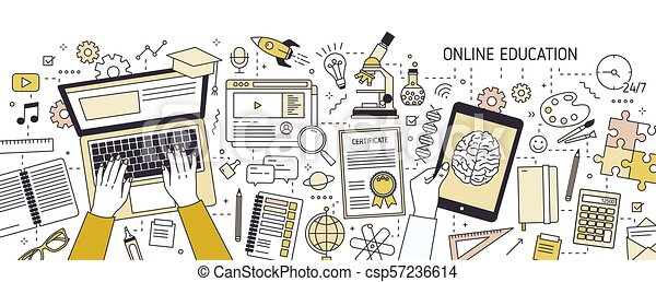 Horizontal Banner With Hands Typing On Laptop Keyboard And Various Office Supplies Online Or Distance Education E Learning