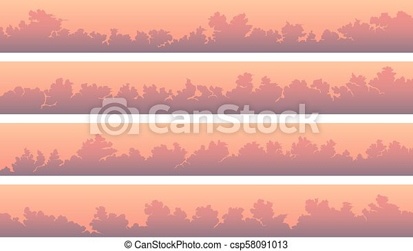 Horizontal banners with cumulus clouds at pink sunset. - csp58091013