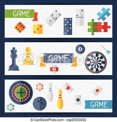 Horizontal banners with game icons in flat design style. - csp23533332