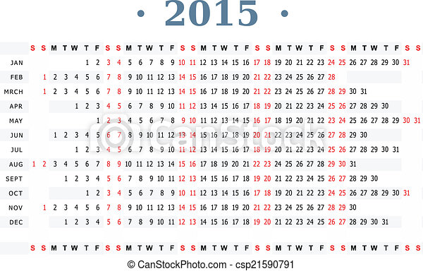 Horizontal Calendar For Year 2015 Horizontal Vector Template For