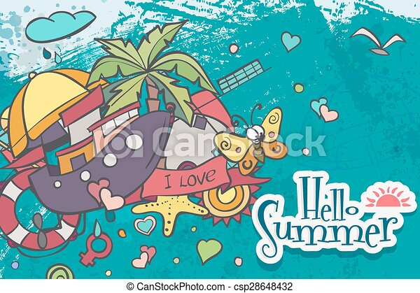 Horizontal card on a summer theme of colored doodles - csp28648432