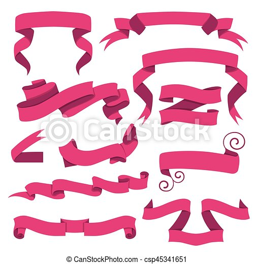 Relatively Horizontal cartoon ribbon banners vector. set of pink clipart  CC28