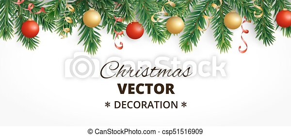 horizontal christmas banner with fir tree garland hanging balls and ribbons csp51516909 - How To Decorate A Christmas Tree With Ribbon Horizontally