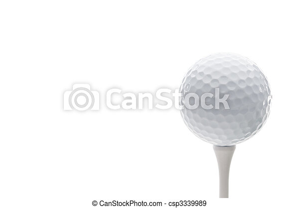Horizontal close up of a golf ball on a tee - csp3339989