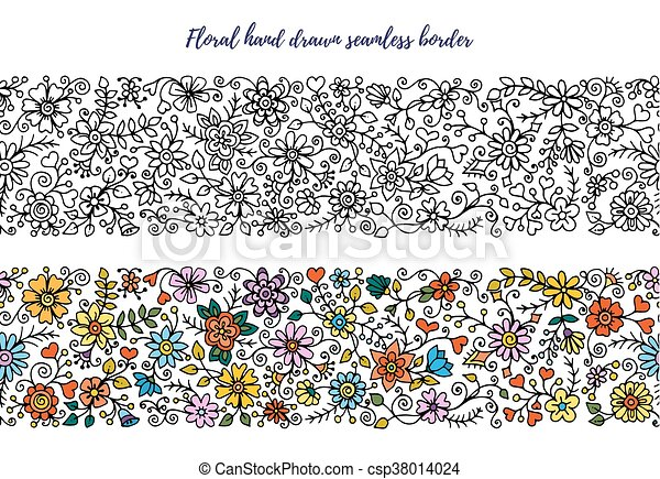 Horizontal, conjunto, coloreado, garabato, version., patterns ...