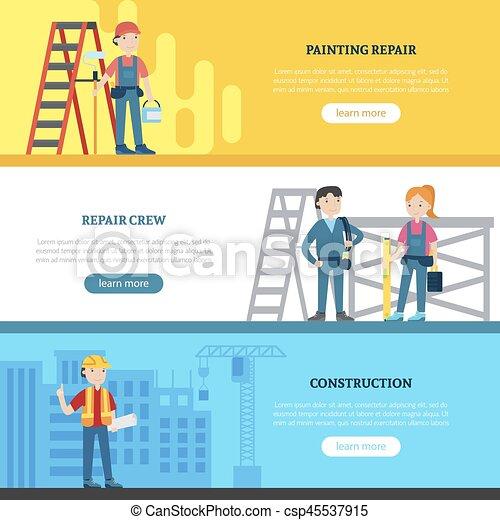 Estandartes horizontales del equipo de construcción - csp45537915