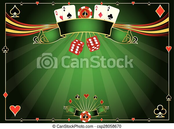 Horizontal green Casino background - csp28058670
