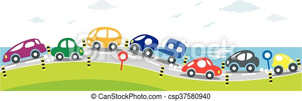 Horizontal seamless background of Cars on the road - csp37580940
