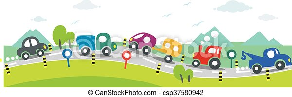 Horizontal seamless background of Cars on the road - csp37580942