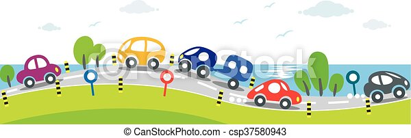 Horizontal seamless background of Cars on the road - csp37580943