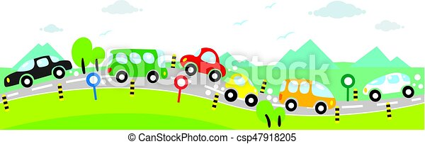 Horizontal seamless background of Cars on the road - csp47918205