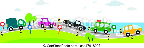 Horizontal seamless background of Cars on the road - csp47918207