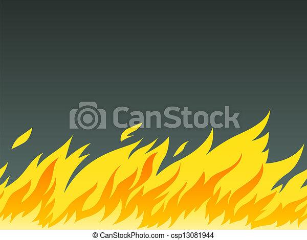 horizontal seamless pattern of burning fire - csp13081944