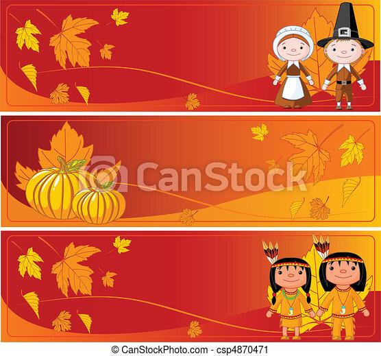 Horizontal Thanksgiving Banners - csp4870471