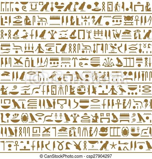 Alte ägyptische Hieroglyphen nahtlos horizontal - csp27904297