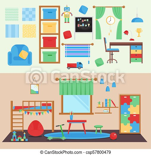 Horizontal view cozy baby room decor vector children bedroom interior  illustration with furniture and toys. Nursery childhood interior boy  babyroom.