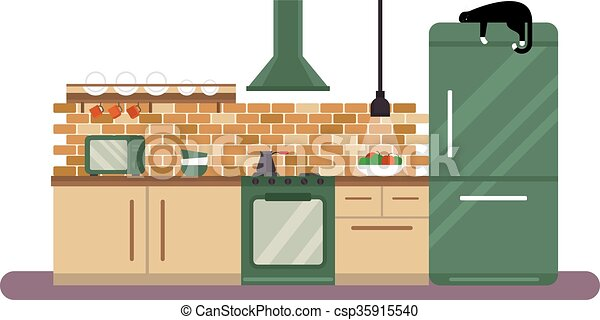 Gentil Horizontal View Of Modern Furniture In Luxury Kitchen Design Interior Flat  Illustration.
