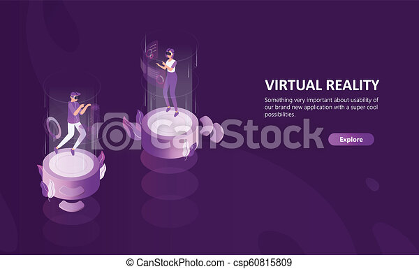 horizontal web banner template with man and woman wearing virtual