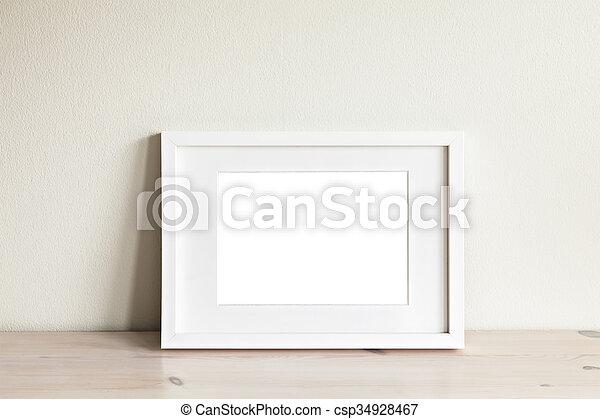 Horizontal white frame mockup. Image of a horizontal white frame ...