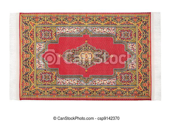 horizontalmente, retangular, mentiras, fundo, branco vermelho, tapete - csp9142370