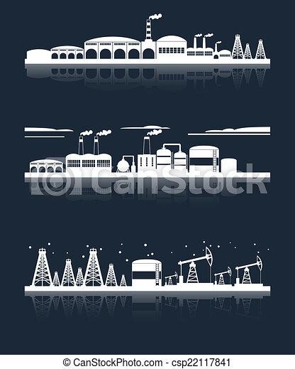 horizonte cidade, industrial, bandeiras - csp22117841