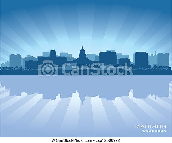 horizonte cidade, madison, wisconsin, silueta - csp12508972