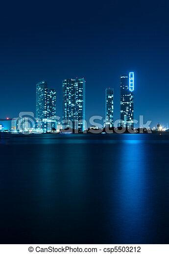 El horizonte de Miami por la noche - csp5503212