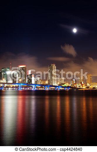 Vista nocturna del horizonte de Miami - csp4424840