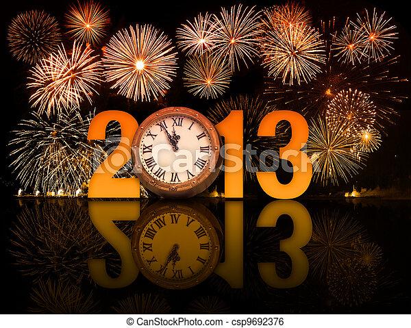 horloge, minutes, feux artifice, minuit, 5, année, afficher, 2013, avant - csp9692376