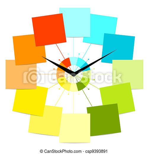 horloge, texte, créatif, conception, autocollants, ton - csp9393891