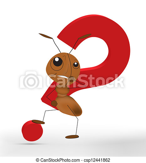 Hormiga 3D con un signo de interrogación rojo - csp12441862
