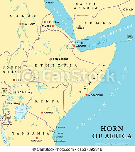 Horn of africa political map Horn of africa peninsula vector